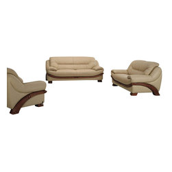VIG Furniture - 870 Beige Top Grain Leather 3 Piece Sofa Set With Wood Accents - The 870 sofa set will be a great addition to your decor and have you relaxing in modern luxury. This sofa set comes upholstered in a beautiful beige top grain leather in the front where your body touches. Skillfully chosen match material is used on the back and sides where contact is minimal. High density foam is placed within the cushions for added comfort. Each piece comes accented with wood trim along the bottom in a walnut finish.