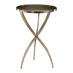 """Inviting Home - Solid Brass Tripod Table - Round solid brass occasional table in antiqued brass finish 16"""" x 24""""H Round solid brass tripod table with antiqued brass finish."""