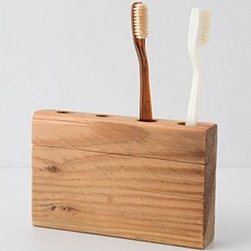 """Anthropologie - Timber Trail Toothbrush Holder - No two are exactly alikeSalvaged wood4""""H, 9.5""""WUSA"""