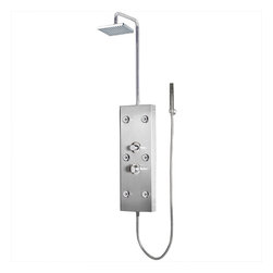 """Ariel - Ariel 300 Shower Panel - Enjoy the pleasures of an Ariel Shower Panel in your home. These units are fully loaded with body massage jets, handheld shower, and rainfall ceiling shower which are all designed to greatly increase your therapeutic experience. We are confident that you will indulge in a state of complete relaxation and tranquility with all of these features within these shower panel enclosures. Look below for the features and detailed specifications of this shower panel.  A300    Dimensions: 9.84"""" x 53.15""""  Rainfall Showerhead  6 Body Massage Jets  Handheld Showerhead  Finish- Stainless Steel  Thermostastic faucet"""