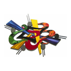 Alisa Diva - Creative Burst Large Contemporary Handmade Wall Art - This exciting piece has a lot to offer and will add a blast of needed color anywhere you choose to hang it. Geometric forms and nonsensical swirls come together in a hodgepodge of visual stimulation that will make passersby stand at attention. Eye-catching abstract formation is constructed using quality materials and will be the perfect focal point for any room in the home, from the foyer to the mudroom and everywhere in between