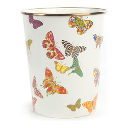 """MacKenzie-Childs - White Butterfly Garden Wastebasket - MULTI COLORS - MacKenzie-ChildsWhite Butterfly Garden WastebasketDetailsHandcrafted wastebasket.Heavy-gauge steel underbody with ceramic glaze and hand-applied transfer decoration.Rimmed in bronzed stainless steel.Hand wash.Due to the nature of handcrafting canisters may vary.8""""Dia. x 9.5""""T.Imported.Designer About MacKenzie-Childs:Established in 1983 MacKenzie-Childs combines vibrant colors and patterns to create a whimsical collection of tableware furniture and decorative accessories that epitomize """"tradition with a twist."""" The company's designers draw inspiration from the pastoral setting of their studios located on a 65-acre former dairy farm in Aurora New York."""