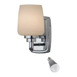 Design Classics Lighting - Polished Chrome Sconce with LED Bulb - 461-26/8W LED - The white glass pops against the polished chrome finish creating a fresh and modern look in bathrooms and kitchens. Includes one 9.5-watt LED bulb based on a breakthrough and patented technology to last 6 times longer than compact fluorescent bulbs and 35 times longer than an incandescent. Features a medium base with white diffuser and vented heat sink. Takes (1) 9.5-watt LED A19 bulb(s). Bulb(s) included. Dry location rated.