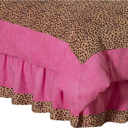 Sweet Jojo Designs - Pink Cheetah Queen Bed Skirt - The Pink Cheetah Queen Bed Skirt will complete the look of your child's bedding set. This skirt, or dust ruffle, adds the finishing touch while conveniently hiding under-the-bed storage. This bed skirt is available in a Queen size.