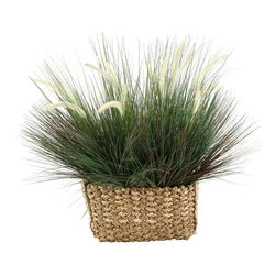 """D&W Silks - Artificial Onion Grass With Dogstail in Rectangle Basket - It's amazing how much adding a plant can change the look of a room or decor, but it can be difficult if your space is not conducive to growing plants, or if you weren't exactly born with a """"green thumb."""" Invite the beauty of nature into your home without all the upkeep with this maintenance-free, allergy-free arrangement of artificial onion grass with dogstail in a rectangle basket. This is not a living plant."""