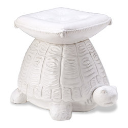 "Kathy Kuo Home - White Coastal Beach Style Turtle Garden Stool - Originally used in gardens and patios, the ceramic garden seat now also lives comfortably indoors as a pair of end tables, or used decoratively across a coffee table.  Whimsical and heart warming, this turtle ""seat"" will surely be the conversation piece."