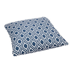 None - Wavy Navy Corded Outdoor/ Indoor Large 28-inch Floor Pillow - Bring outdoor durability inside for everyday use with this indoor/ outdoor decorative floor pillow. Featuring stain,fade,and mildew resistant fabric,this comfortable floor pillow is trimmed with matching cording for dramatic style.