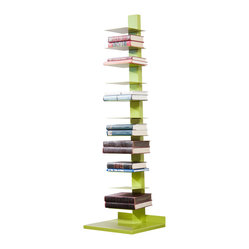 Holly & Martin - Holly & Martin Heights Book/Media Tower, Lime Green - Minimalist design meets invigorating color in this artsy media tower, perfect in smaller spaces or anywhere you need a vertical piece. Store your books, magazines, movies or knickknacks on the 11 shelves. The bright painted finish and powder-coated metal will last you for years.