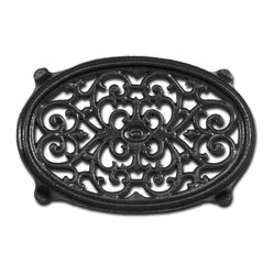 Black Oval Filigree Steamer Trivet