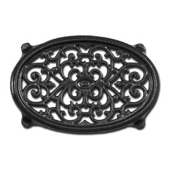 John Wright - Black Matte Oval Filigree Steamer Trivet - Both traditional and contemporary designs are cast in iron to use under kettles & steamers, to protect tables and countertops from hot dishes, or as attractive decorator accents on tables, shelves, and walls. Trivets are very popular gift items for the holidays. The Lattice trivets and the Circle and Star trivets are porcelain-coated in colors to match our kettles and steamers.
