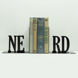 Nerd Alert Bookends - Set of 2 - Are you nerdy and proud of it? Showcase your nerdiest novels—or textbooks—in these celebratory bookends. They're handmade from solid steel for a long-lasting set.