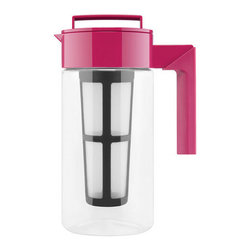 Contemporary Tea Maker, Pink - Skip the store bought, syrupy stuff (not to mention the landfill-bound bottle) and brew your own iced tea with this tea maker. Named a Top 5 Finalist for the Innovation Award by the International Housewares Association, this versatile vessel requires no transferring of liquid. Simply steep the hot tea in it, remove the infuser, add ice, and shake until chilled (it's airtight, we promise!). Then serve as-is. Isn't simplicity refreshing?