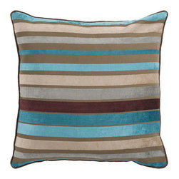 Surya Rugs - Ocean Blue and Multi Colored Striped 22 x 22 Pillow - Trendy stripes bring fun to any space. Colors of teal, beige, and brown accent this decorative pillow. This pillow contains a poly fill and a zipper closure. Add this 22 x 22 pillow to your collection today.  - Includes one poly-fiber filled insert and one pillow cover.   - Pillow cover material: 60% Viscose, 40% Cotton Surya Rugs - JS024-2222P