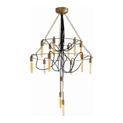 Arteriors - Winston Chandelier, Brass - Positively illuminating, this dramatic chandelier lights up your space with double-ring tiers of tube-shaped candleholders. It suspends from chain and exposed black nylon fabric cording that adds an organic element.