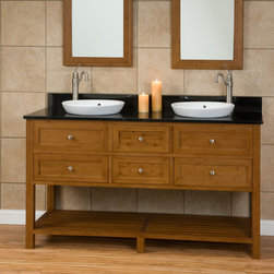 "60"" Taren Bamboo Double Vanity for Semi-Recessed Sinks - The 60"" Taren Bamboo Double Vanity, featuring two porcelain sinks, will make a great addition to any large bathroom or master bath suite."
