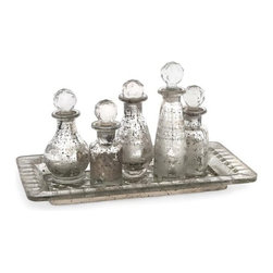 iMax - Macaire Mini Bottles with Tray, Set of 6 - With crystal inspired globe finials, this six piece Macaire set features a mercury glass look with subtle etched details in various intriguing shapes.
