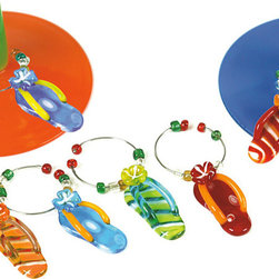 Happy Hour - Flip Flop Wine Charm Set - Adorned with beach-inspired pieces, these sweet metal and glass charms will help guests identify their wine glasses. �� Includes six wine charms Packaged: 5.5'' W x 8.75'' H x 1'' D Glass / metal Imported