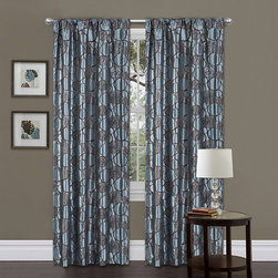 Lush Decor - Lush Decor Blue/ Brown 84-inch Circle Charm Curtain Panel - This retro blue geometric curtain panel will bring a funky attitude to any room with a brown circular pattern on faux silk polyester and a rod pocket for easy installation. Set contains one panel and one tieback,with rod and hook sold separately.