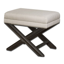 Carolyn Kinder - Carolyn Kinder Viera Small Bench X-67032 - Shimmery, sandy white woven tailoring features Teflon® fabric protector, silver nail accents and black crackled wood frame in solid white mahogany