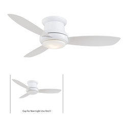 "MinkaAire - Minka Aire Concept II 44"" 3 Blade Ceiling Fan F518-WH in White - Features:Bring the fresh breeze from the outdoors inside your home with the Concept I Ceiling FanAs the name implies, ""a taste of things to come,"" simple in style, yet ingenious by design, the Concept requires 75% less time and labor to assemble than conventional ceiling fans3 Attractive and Sturdy Blades IncludedIncludes Attractive and Functional Light KitDown Light Directs Useful and Attractive Illumination DownwardIncludes Convenient Hand Held RemoteLimited Lifetime Motor WarrantyBlade Specifications:Number of Blades: 3Blade Span: 44""Blade Pitch: 14 DegreesLight Kit Specifications:Light Kit Included: YesNumber of Bulbs: 1Bulb Base: Candelabra (E12)Bulb Type: HalogenBulb Included: YesLight Direction: Down LightingAir Flow Specifications:Motor Size: 153 x 15CFM: 4600Additional Specifications:Energy Star: No"