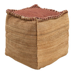 Jute Taupe Pouf - An ephemeral feel and a warm desert palette are thoughtful choices for the living space, embodied in the Jute Taupe Pouf.  Constructed with chunky stitching and a contrast top, this natural fiber pouf makes a perfect casual footstool or slouchy seat; in front of a leather armchair or amidst handsome carved furniture, it draws attention to natural tones and crafted details.