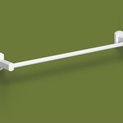 """Lacquered White Wall Mounted 18 Inch Towel Bar by Gedy - Trendy wall mounted contemporary towel bar made of high quality brass in a lacquered white finish. Sleek 18 inch towel holder designed and manufactured in Italy by Gedy. Towel bar dimensions: 17.90"""" (width), 1.93"""" (height), 2.91"""" (depth)"""