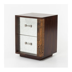 Four Hands - James End Table Right - It's called an end table, but really it's the beginning to adding natural materials and handmade style to your room. The outside is rough wood, finished in a deep stain to show off its grain. And the two drawers are faced with matte metal and antiqued hardware for a rustic-modern piece that also works great as a night stand.
