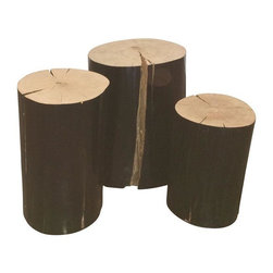 "Gervasoni - Pre-owned Gervasoni Lacquered Wood Logs - Set of 3 - A log set by Gervasoni, Made in Italy. This decorative log set is coated with a black shiny lacquer surround and exposed wood top. Wood character cracks are visible. This 3 piece set is a showroom sample. This trio of logs makes for a great side table or bedside table.     W  are 8.5"",  9.5"", 12""  Heights vary from 13"" ( 1 ) , 16.5"" (2) respectively."