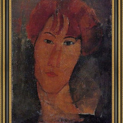 """Art MegaMart - Amedeo Modigliani Portrait of Pardy - 18"""" x 24"""" Framed Premium Canvas Print - 18"""" x 24"""" Amedeo Modigliani Portrait of Pardy framed premium canvas print reproduced to meet museum quality standards. Our Museum quality canvas prints are produced using high-precision print technology for a more accurate reproduction printed on high quality canvas with fade-resistant, archival inks. Our progressive business model allows us to offer works of art to you at the best wholesale pricing, significantly less than art gallery prices, affordable to all. This artwork is hand stretched onto wooden stretcher bars, then mounted into our 3 3/4"""" wide gold finish frame with black panel by one of our expert framers. Our framed canvas print comes with hardware, ready to hang on your wall.  We present a comprehensive collection of exceptional canvas art reproductions by Amedeo Modigliani."""