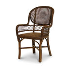 Palecek - Antique Cane Arm Chair - Pole rattan frame with open cane woven back. Coil weave on arms and trim. Padded rattan mat seat.