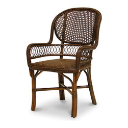 Palecek - Antique Cane Armchair - Pole rattan frame with open cane woven back. Coil weave on arms and trim. Padded rattan mat seat.