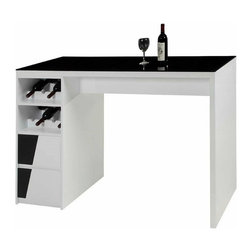 Chintaly Furniture - Fulton Black Glass Top Bar Base with Drawers and Wine Storage in White - Chintaly Furniture - Home Bars - FULTONBARBTKIT - Modern style home bar featuring a black tempered glass top is ready to serve you and your guests. Finished in Gloss White and Black this storage unit has 2 drawers for storage and 2 wine rack shelves which can store up to 8 bottles. Its sleek clean design is perfect for any decor.