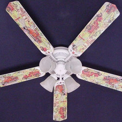 Ceiling Fan Designers - Ceiling Fan Designers Fire Trucks Indoor Ceiling Fan - 42FAN-KIDS-KRFT - Shop for Ceiling Fans and Components from Hayneedle.com! If you're a fan of heroes the Ceiling Fan Designers Fire Trucks Indoor Ceiling Fan is perfect for you. This colorful ceiling fan is decorated with colorful vintage fire trucks. Perfect for the retro themed room it will cool down and light up the room in style. It comes in your choice of size: 42-inch with 4 blades or 52-inch with 5. The blades are reversible so you get the colorful design on one side and white on the other. It has a powerful yet quiet 120-volt 3-speed motor with easy switch for year-round comfort. The 42-inch fan includes a schoolhouse-style white glass shade and requires one 60-watt candelabra bulb (not included). The 52-inch fan has three alabaster glass shades and requires three 60-watt candelabra bulbs (included). Your ceiling fan includes a 15- to 30-year manufacturer's warranty (based on size).