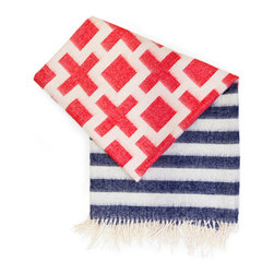 "Jonathan Adler - Jonathan Adler Nixon Stripe Red/Blue Throw - Jonathan Adler's Nixon blanket captivates with a red, white and blue graphic print. The rectangular throw's soft texture, tassel trim and striped pattern exude statement-making appeal. 60""W x 60""H; 100% baby alpaca; Red, white and blue colors reverse on opposite side"