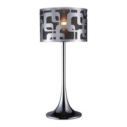 Dimond Lighting - Dimond Lighting D1463 Blawnox 1 Light Table Lamps in Chrome - Blawnox Table Lamp in Chrome with Steel Shade and Black Organza Fabric Liner