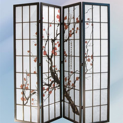 Asia Direct Home - 4-Panel Paper Shoji Room Divider Screen - Plum blossom painting. Black wood frame. Design pattern only appears on the front. Folds easily for storage. Made in Taiwan. Thickness: 1 in.. Overall: 72 in. W x 70.38 in. H