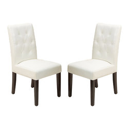 Great Deal Furniture - Waldon Leather Dining Chairs, Ivory, Set of 2 - Warm welcome: Some chairs just seem to invite company. This is one such design. Crafted in natural hardwoods and leather with plush seating, these gems are tufted back to encourage delightful times over a meal. And should dinner extend into an evening affair, these chairs can do double duty as side chairs in your living room.