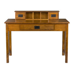 Holly & Martin - Holly & Martin Sebastian Desk-Mission Oak - Dress up your home office, bedroom or even dorm room with this classic mission oak desk. The oak stain brings out the character of the wood and creates a piece that you are sure to cherish in your home for years to come. The top organizer has a drawer on either side for small knick-knacks and three cubby spaces in the center for small desk top items. Should you decide to use your PC or laptop with this desk, the main drawer serves a dual purpose by having a fold down front that allows the use of a keyboard. Make your home glow with this stylish mission desk.