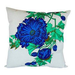 "Alfred Shaheen Blue Peony Floral Pillow - 20"" - Custom-made pillow with vintage Alfred Shaheen fabric. Shaheen was a pioneer of the textile and fashion industry in Hawaii. Light sky blue fabric with hand-painted chrysanthemum pattern. Same fabric on back. Cover is hand-sewn closed."