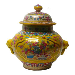 Golden Lotus - Chinese Yellow Base Color Flower Porcelain Mini Jar - This is a traditional Chinese decoration jar in yellow base color with multi-color oriental flower grapic around the body.