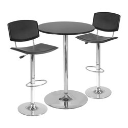 "Winsomewood - Spectrum 3-Piece Pub Table Set, 28"" Round Table with 2 Airlift Stools - This modern bar table set was designed for two. Catch over coffee or serve meal at this cozy bar height table which comes with 28"" Round MDF Black MDF Table Top and two swivel and adjustable stools. Table measures 28.74""W x 28.74""D x 40""H, Swivel Stool seat height adjustable from 22.5"" to 31.4""."