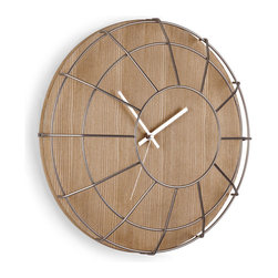 Wire Cage Wall Clock - Soft-toned wood gets toughened up by the sleek wire cage over this unusual wall clock. It would look great keeping time in your rustic retro kitchen or industrial office.
