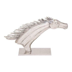 BZBZ27772 - Decorative Horse Head Show Piece with Polished Aluminum Finish - Decorative Horse Head Show Piece with Weathered Looks and Polished Aluminum Finish. The perfect addition to your vintage collection, this exquisitely detailed horse head showpiece is a majestic and awe inspiring creation epitomizing strength, character, beauty and freedom. The horse head has dimensions of 32 x 7 x 20. Some assembly may be required.