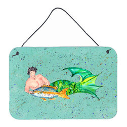 Caroline's Treasures - Merman  Indoor Or Aluminium Metal Wall Or Door Hanging Prints - Great for inside or outside these Aluminum prints will add a special touch to your kitchen, bath, front door, outdoor patio or any special place.  8 inches by 12 inches and full of color.  This item will take direct sun for a while before it starts to fade.  Rust and Fade resistant.  Aluminum Print with Hanging Rope.  Rounded Corners.