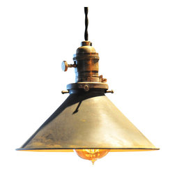 """The Pepin Shop - Metal Filament 8"""" Pendant Age Steel - Original Lamps from 20th-century industrial lighting with Victorian Bulb."""