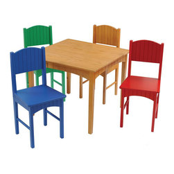 Kidkraft - KidKraft Nantucket Table and 4 Chair Set in Primary - Kidkraft - Kids' Table and Chair Sets - 26121 - Our wood Nantucket Honey Table and 4 Chair Set is a great place for coloring board games and crafts. With clean simple lines the set includes: