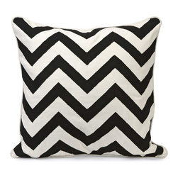 IMAX CORPORATION - Chevron Black and White Embroidered Pillow - Instill a vibrant energy with this bold, graphic statement pillow in contrasting Black and white chevron pattern. Find home furnishings, decor, and accessories from Posh Urban Furnishings. Beautiful, stylish furniture and decor that will brighten your home instantly. Shop modern, traditional, vintage, and world designs.