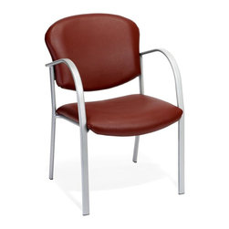 OFM - Anti-Bacterial Vinyl Upholstered Guest Arm Chair (Wine) - Color: Wine. Anti-microbial, anti-bacterial vinyl. Waterfall seat. Unique fabric pattern. VAM Vinyl back. Meets or Exceeds ANSI/BIFMA standards. Weight capacity: 250 lbs.. Pictured in Wine. Seat size: 21.5 in. W x 18.5 in. D. Back size: 21.5 in. W x 16.5 in. H. Seat height: 18 in. . Overall: 21.8 in. W x 25 in. D x 33.8 in. HThis contemporary style guest chair works great around a conference table or as guest seating in your office or waiting room. Silver painted frame with a choice of 4 fabric colors that match many OFM task and conference chairs. The anti-bacterial, anti-microbial vinyl covering is great for keeping rooms germ-free, and is easy to maintain in high-use environments!