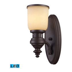 Elk Lighting - Landmark Lighting Chadwick 66130-1-LED 1-Light Sconce in OiLED Bronze - LED Offe - 66130-1-LED 1-Light Sconce in OiLED Bronze - LED Offering Up To 800 Lumens belongs to Chadwick Collection by Landmark Lighting The Chadwick Collection Reflects The Beauty Of Hand-Turned Craftsmanship Inspired By Early 20Th Century Lighting And Antiques That Have Surpassed The Test Of Time. This Robust Collection Features Detailing Appropriate For Classic Or Transitional decors. White Glass Compliments The Various Finish Options Including Polished Nickel, Satin Nickel, And Antique Copper. Amber Glass Enriches The OiLED Bronze Finish. - LED Offering Up To 800 Lumens (60 Watt Equivalent) With Full Range Dimming. Includes An Easily Replaceable LED Bulb (120V). Sconce (1)