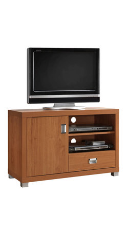 "Techni Mobili - Techni Mobili 40 Inch TV Cabinet in Maple - 40 Inch TV Cabinet in Maple by Techni Mobli This contemporary Techni Mobili TV cabinet, for TVs up to 40"", is designed to fit any bedroom or family room. It includes one door with storage space and one drawer for accessory storage. The Techni Mobili TV cabinet is made of compressed wood that is resistant to scratches. The TV stand with drawer also features two shelves to help store your electronics. The drawer in this 40-inch TV stand will allow you to organize your DVDs and CDs or store audio and gaming accessories.  TV Stand (1)"